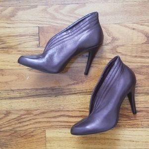 New BCBGirls Eggplant Leather Ankle Bootie